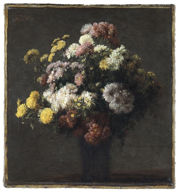 Crisantemos en un florero de Henri Fantin-Latour