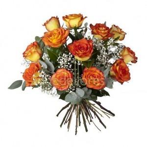 Bouquet de 12 rosas amarillas  con borde del pétalo rojo