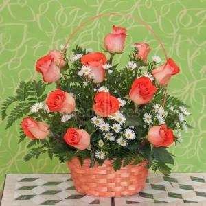 cestas rosas naranjas