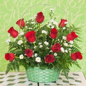 cesta rosas rojas