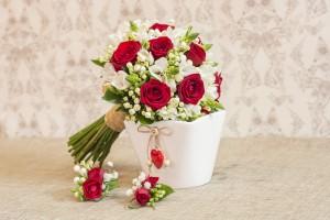ramo de novia rosas rojas