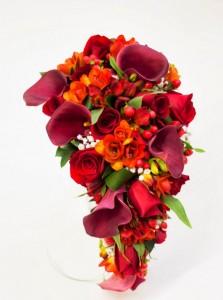 ramo novia cascada rojo
