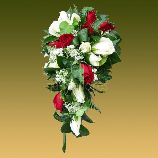Ramo en caída de rosas rojas y blancas