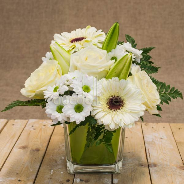 Cubito QDF de flores blancas