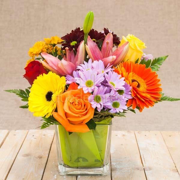 Cubito QDF de flores multicolor