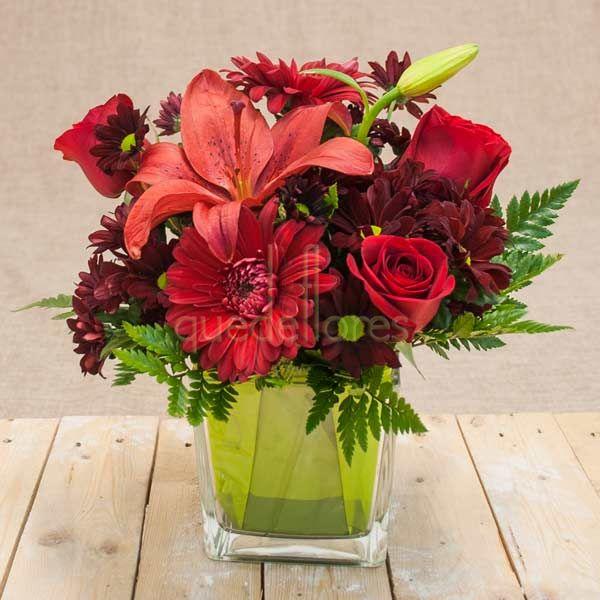 Cubito QDF de flores rojas