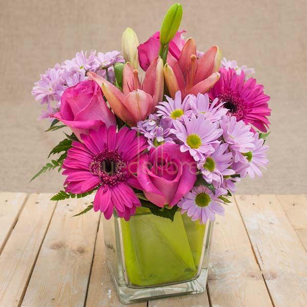 Cubito QDF de flores rosas
