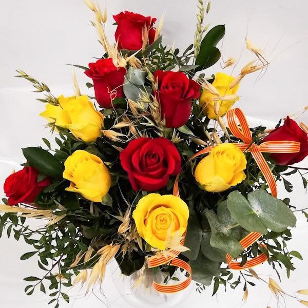 Bouquet de Rosas Amarillas y Rojas Especial Sant Jordi