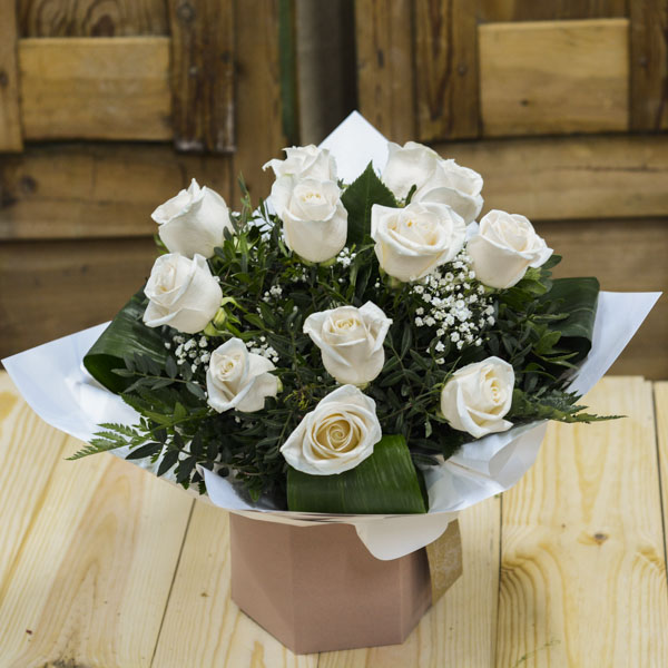 Ramo Burbuja 12 Rosas Blancas