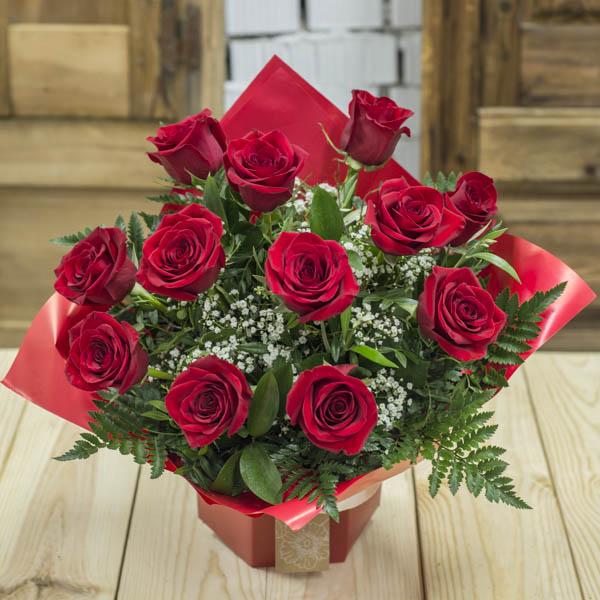 Ramo Burbuja 12 Rosas Rojas