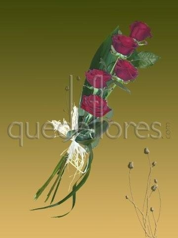 Ramo alargado de 5 rosas rojas