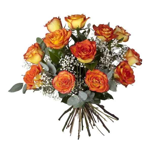 Bouquet de rosas amarillas con los bordes del pétalo en rojo.