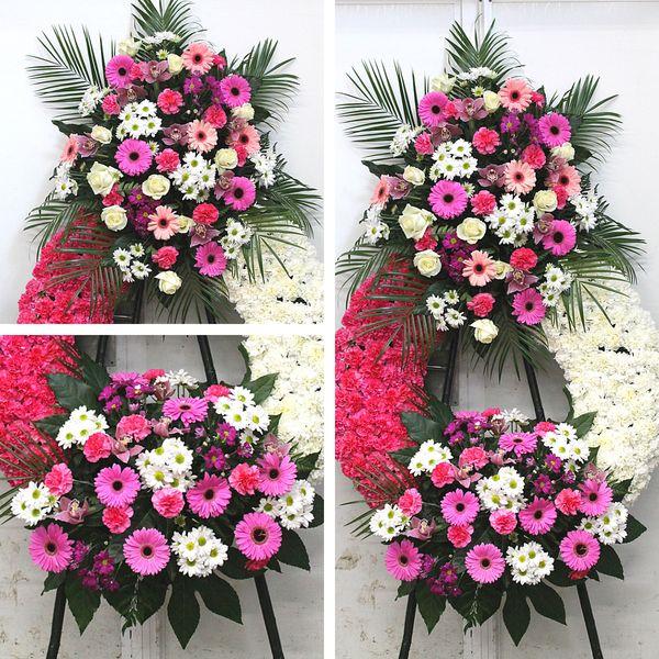Corona en tonos blancos y rosas
