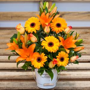 Cubo con flores Naranjas