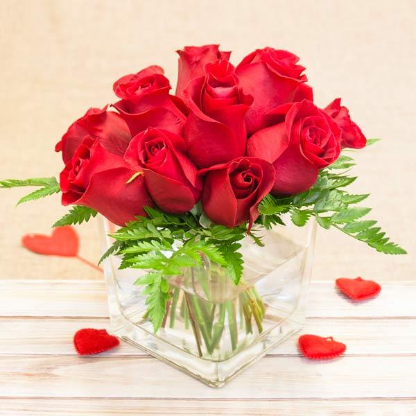 Rosas Rojas en cubito