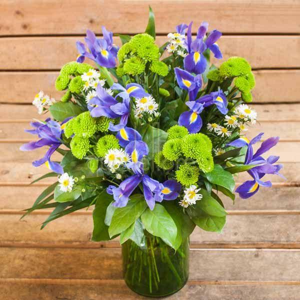 Iris & Green Daisies
