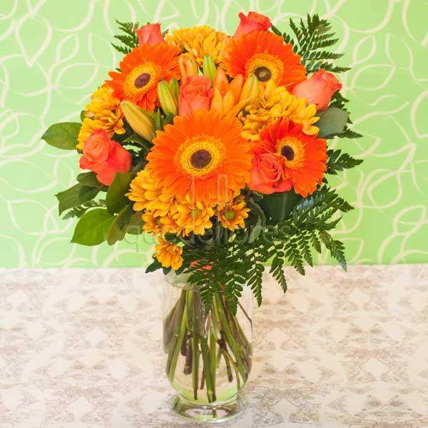 Jarrón de flores Primavera Naranja