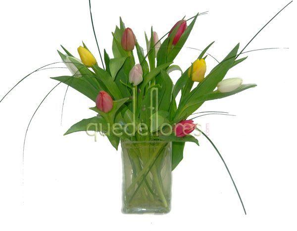 Jarrón de tulipanes rainbow