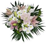 Ramo de flores con lilium rosa y margaritas blancas