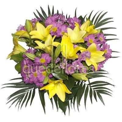 Ramo de flores con lilium amarillo y margaritas fucsias.