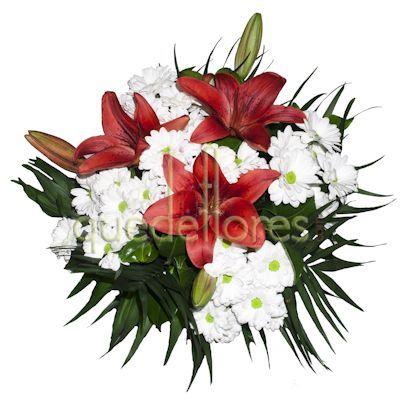 Ramo de flores con lilium rojo y margaritas blancas