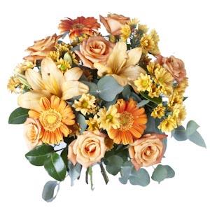 Ramo QDF de flores variadas naranjas
