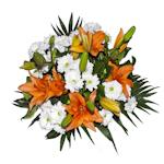 Ramo de flores con lilium salmón y margaritas  blancas