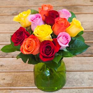 Cubito de rosas arcoiris